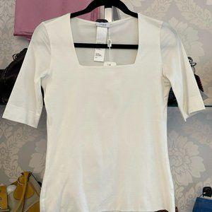 AKRIS PUNTO Off White Sheer Sleeve Blouse/Top Style# 02714204